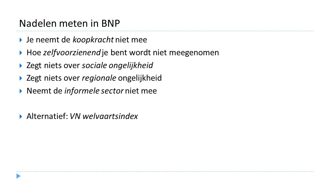 Nadelen meten in BNP Je neemt de koopkracht niet mee