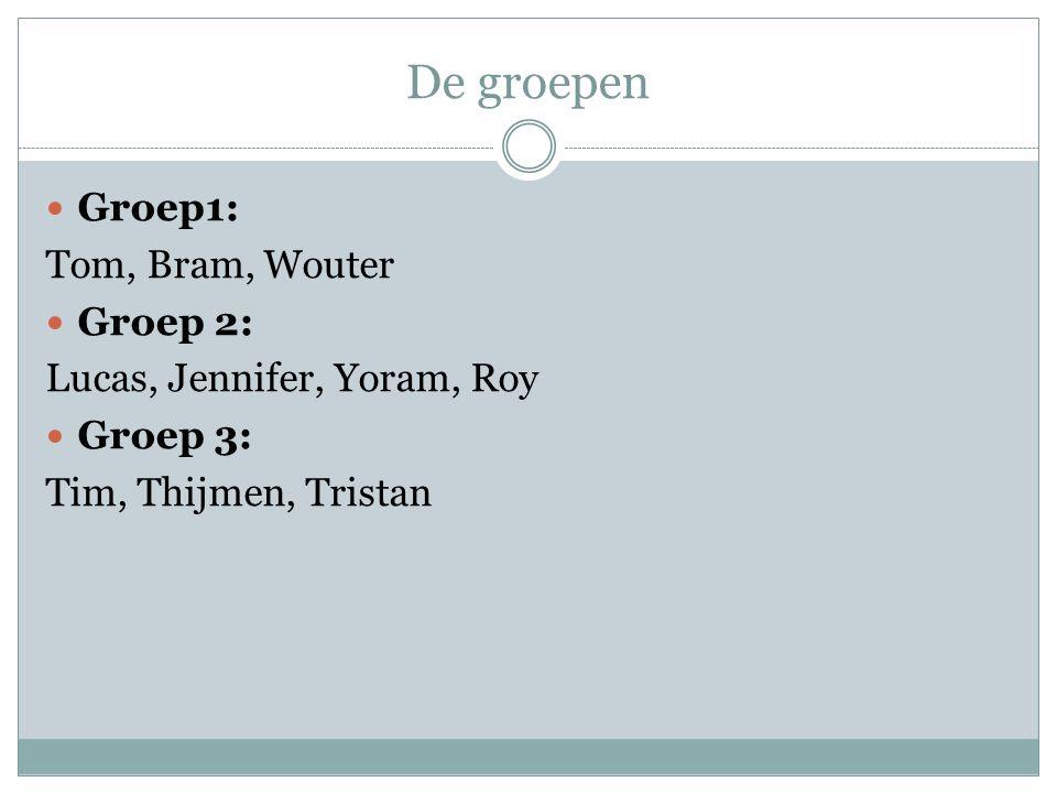 De groepen Groep1: Tom, Bram, Wouter Groep 2: