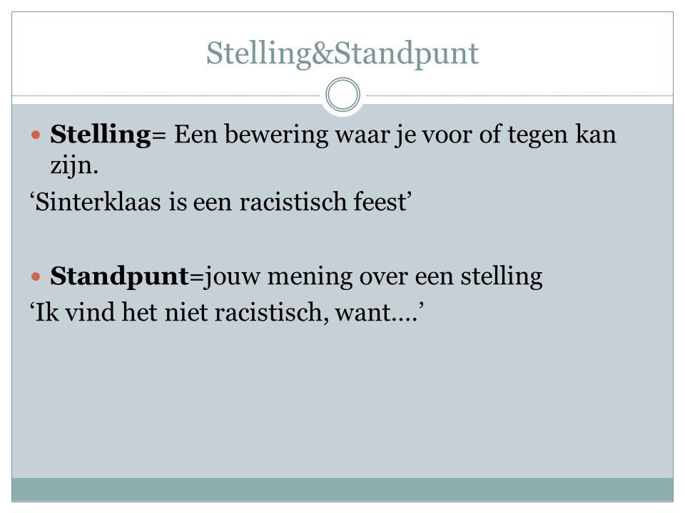 Stelling&Standpunt Stelling= Een bewering waar je voor of tegen kan zijn. 'Sinterklaas is een racistisch feest'