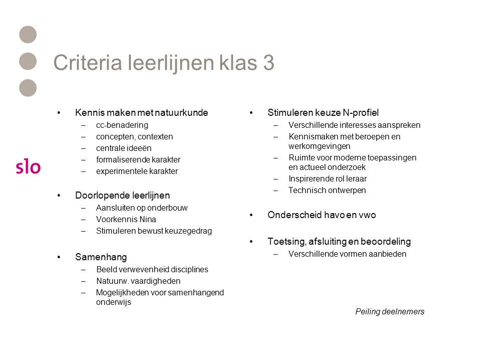 Criteria leerlijnen klas 3