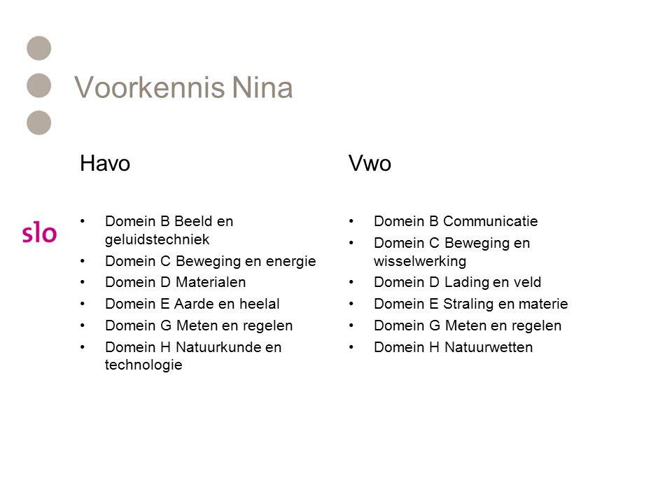 Voorkennis Nina Havo Vwo Domein B Beeld en geluidstechniek