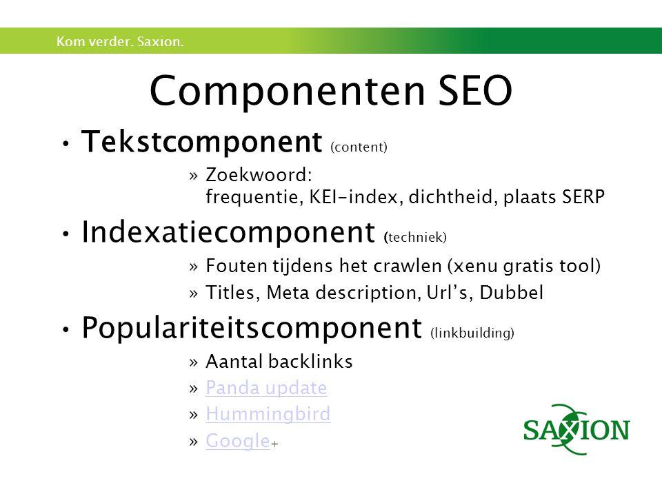 Componenten SEO Tekstcomponent (content) Indexatiecomponent (techniek)