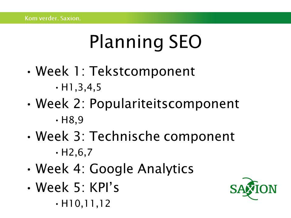 Planning SEO Week 1: Tekstcomponent Week 2: Populariteitscomponent