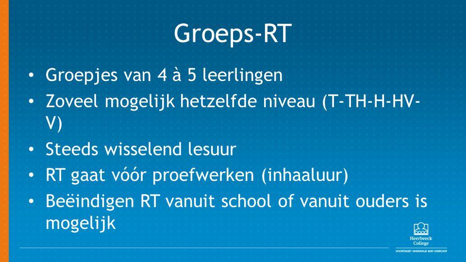 Groeps-RT Groepjes van 4 à 5 leerlingen