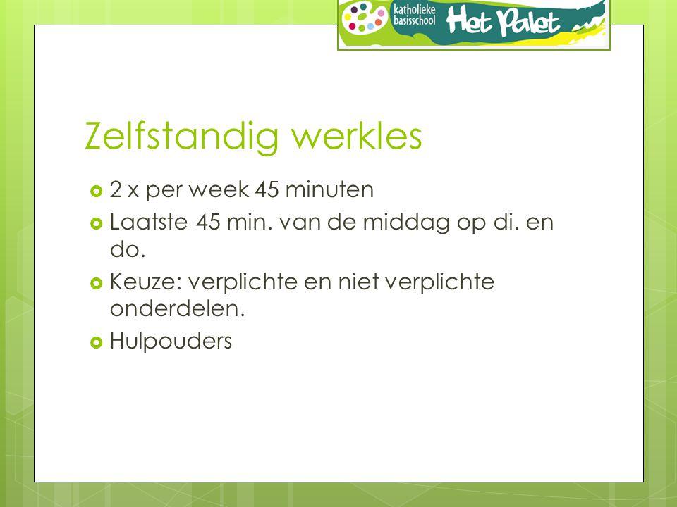 Zelfstandig werkles 2 x per week 45 minuten