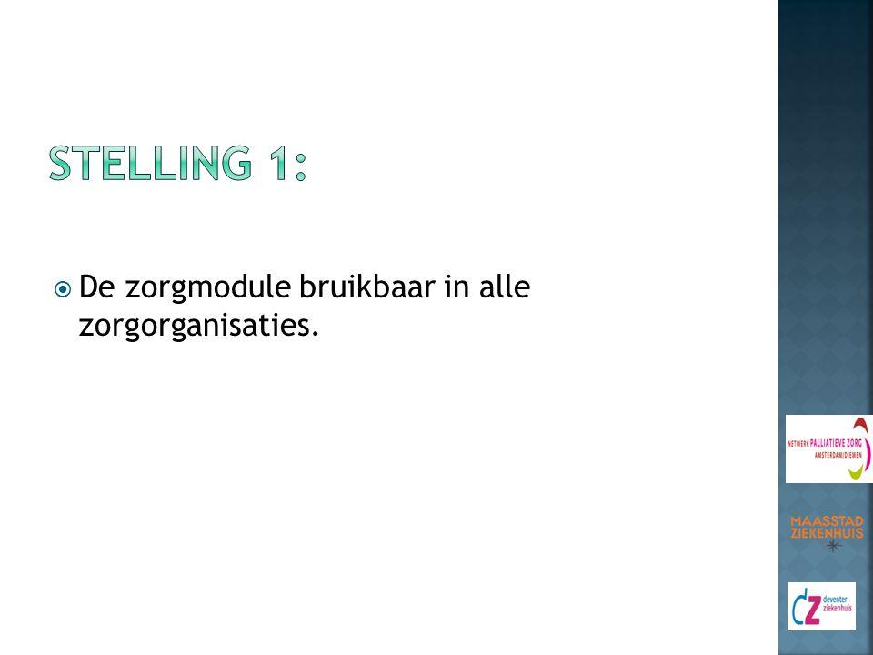 Stelling 1: De zorgmodule bruikbaar in alle zorgorganisaties.