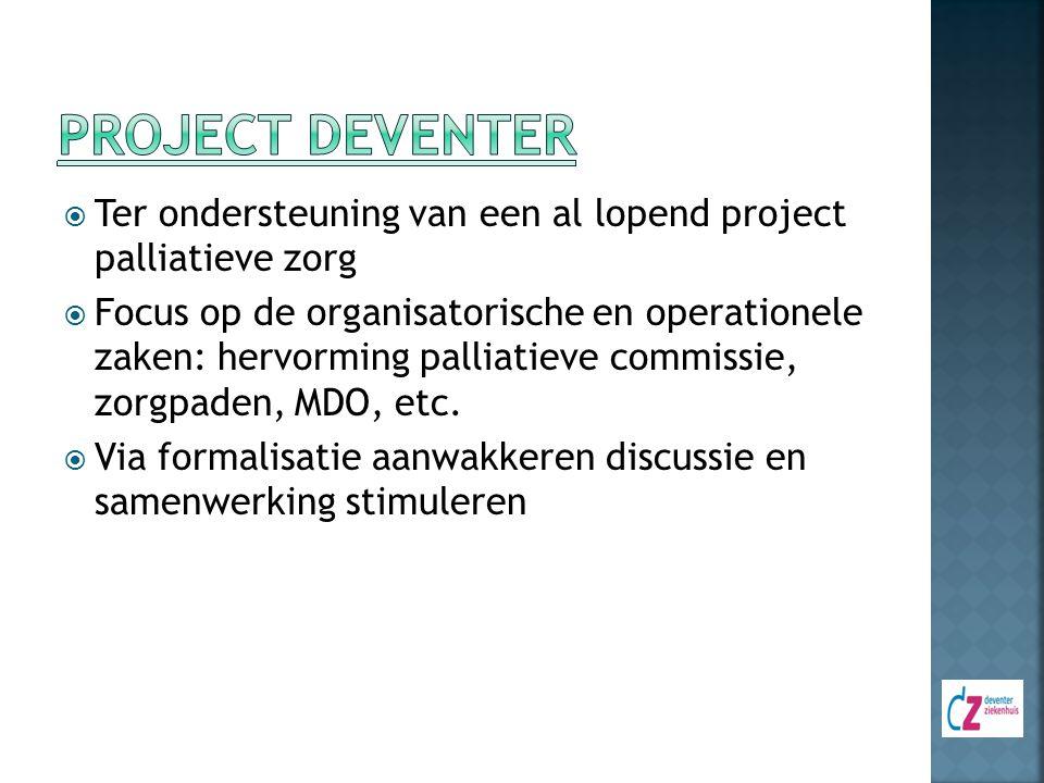 Project Deventer Ter ondersteuning van een al lopend project palliatieve zorg.