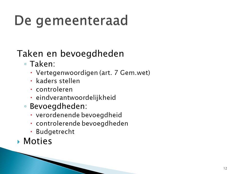 De gemeenteraad Taken en bevoegdheden Moties Taken: Bevoegdheden: