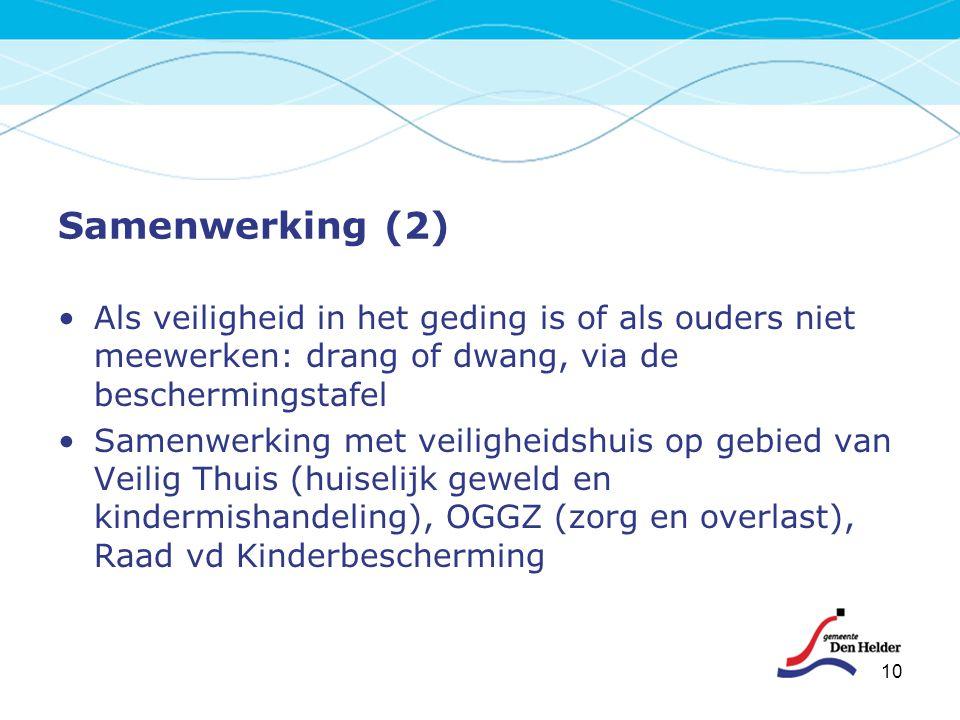 Samenwerking (2) Als veiligheid in het geding is of als ouders niet meewerken: drang of dwang, via de beschermingstafel.