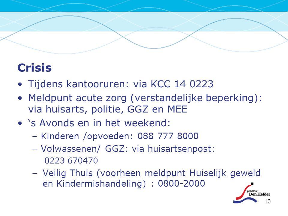 Crisis Tijdens kantooruren: via KCC 14 0223