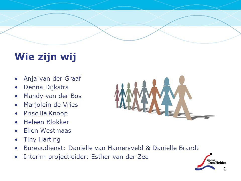 Wie zijn wij Anja van der Graaf Denna Dijkstra Mandy van der Bos