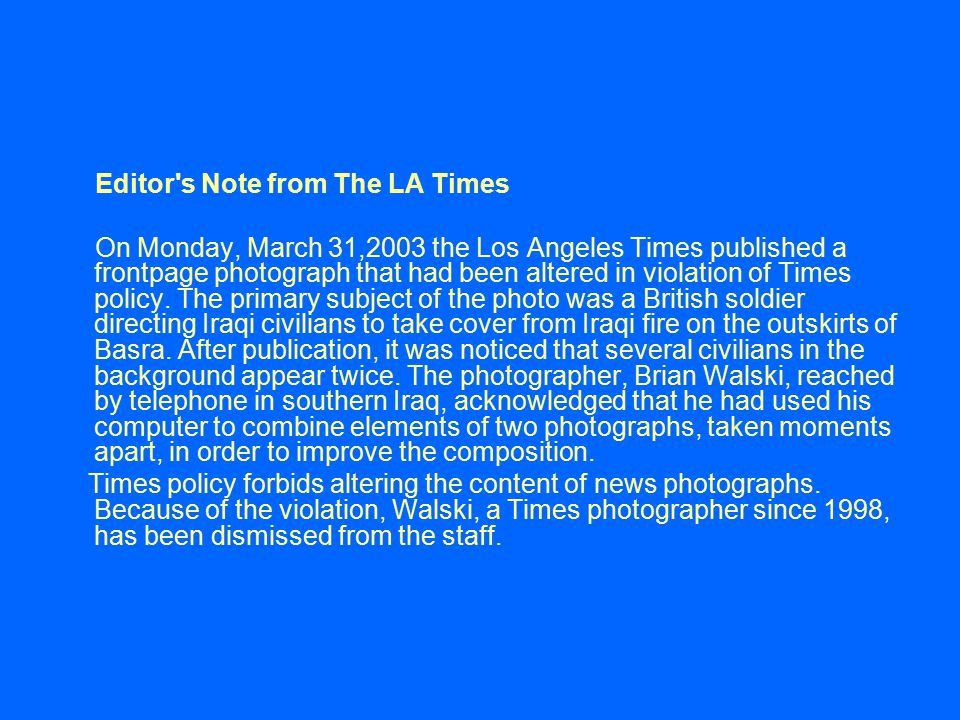 Editor s Note from The LA Times