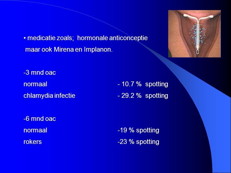 medicatie zoals; hormonale anticonceptie