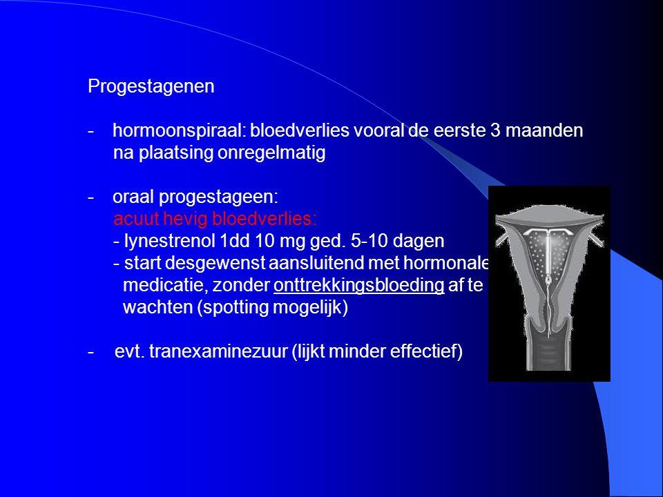 Progestagenen hormoonspiraal: bloedverlies vooral de eerste 3 maanden. na plaatsing onregelmatig. oraal progestageen: