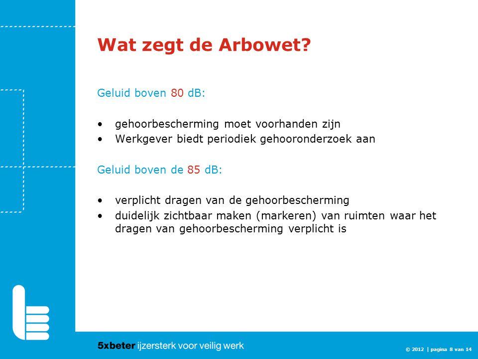 Wat zegt de Arbowet Geluid boven 80 dB: