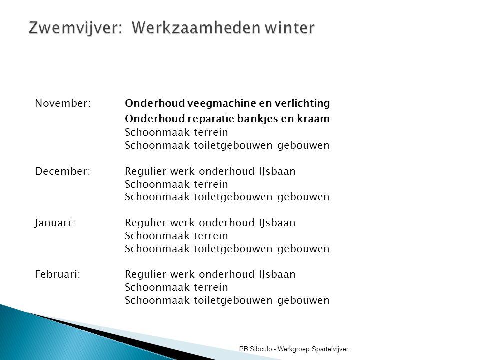 Zwemvijver: Werkzaamheden winter