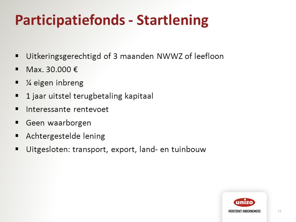 Participatiefonds - Startlening