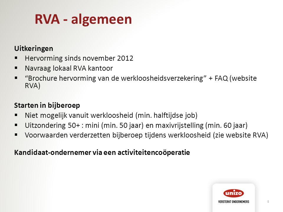 RVA - algemeen Uitkeringen Hervorming sinds november 2012