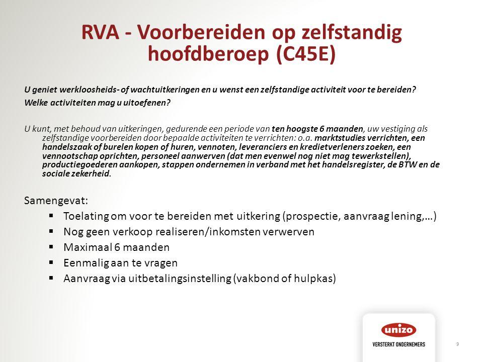 RVA - Voorbereiden op zelfstandig hoofdberoep (C45E)