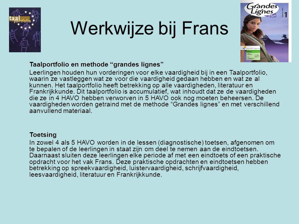 Werkwijze bij Frans Taalportfolio en methode grandes lignes