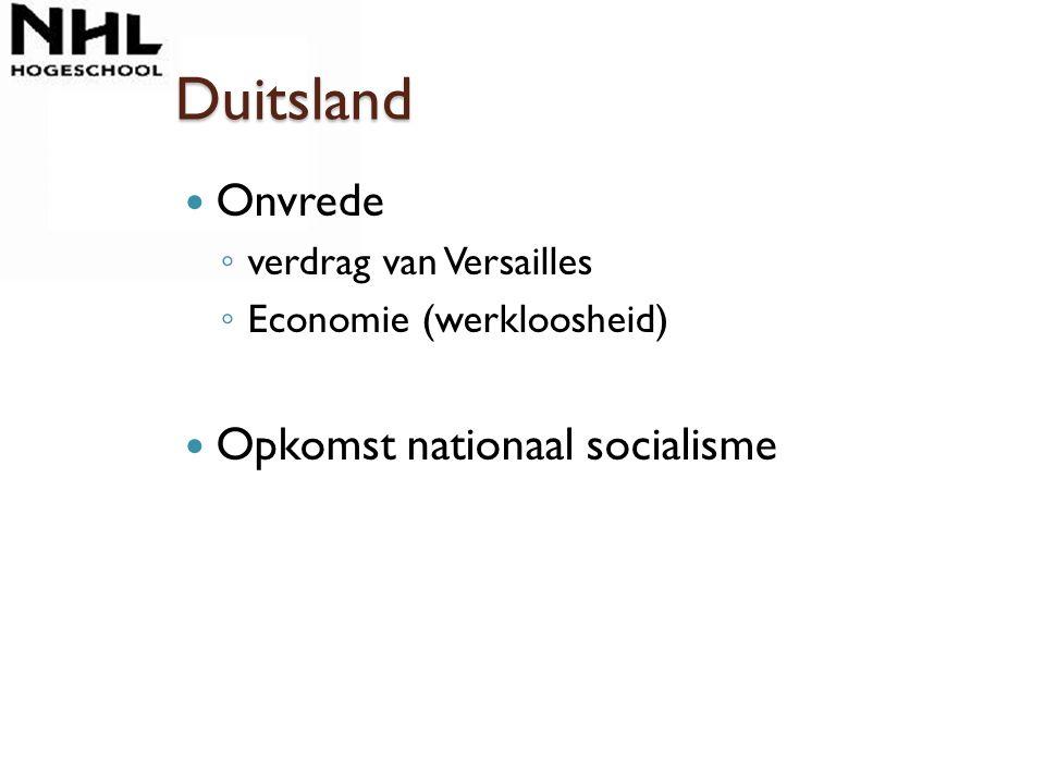 Duitsland Onvrede Opkomst nationaal socialisme verdrag van Versailles