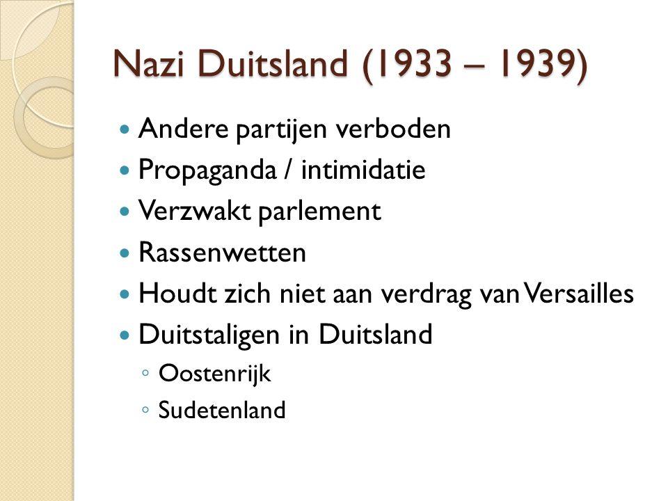 Nazi Duitsland (1933 – 1939) Andere partijen verboden