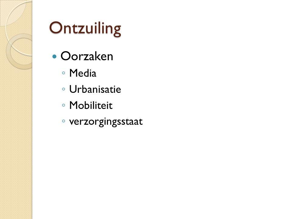 Ontzuiling Oorzaken Media Urbanisatie Mobiliteit verzorgingsstaat
