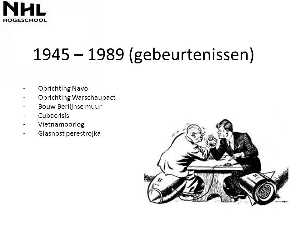 1945 – 1989 (gebeurtenissen) Oprichting Navo Oprichting Warschaupact