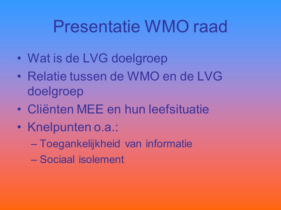 Presentatie WMO raad Wat is de LVG doelgroep
