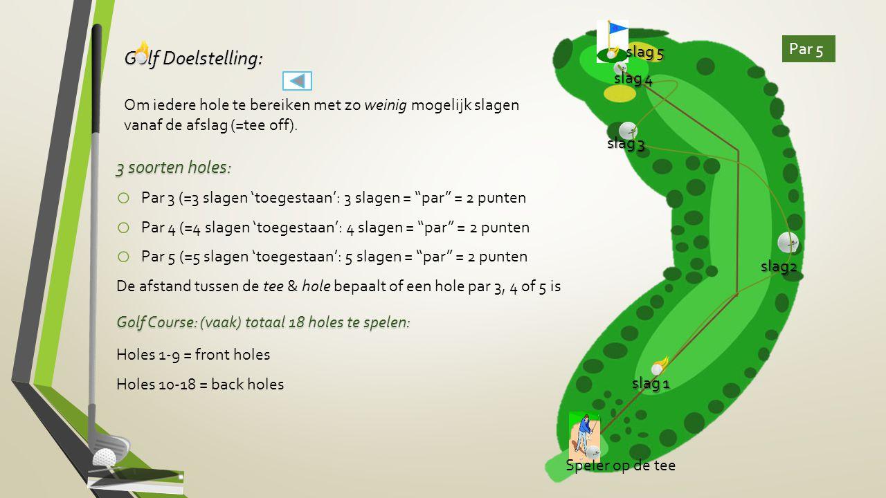 slag 5 Par 5. Golf Doelstelling: Om iedere hole te bereiken met zo weinig mogelijk slagen vanaf de afslag (=tee off).