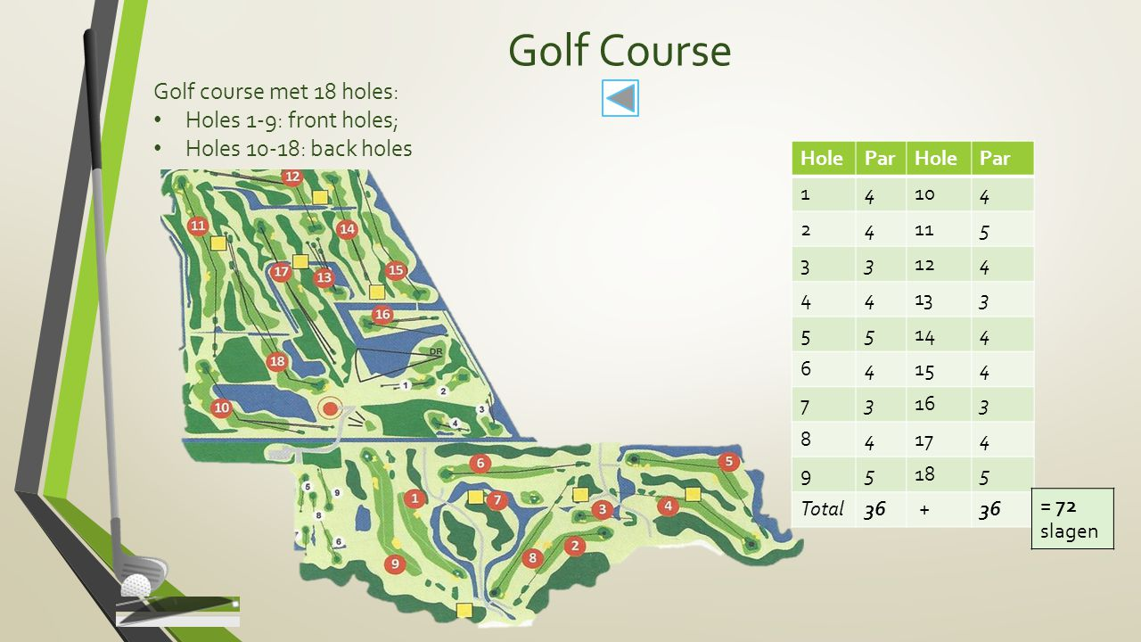 Golf Course Golf course met 18 holes: Holes 1-9: front holes;