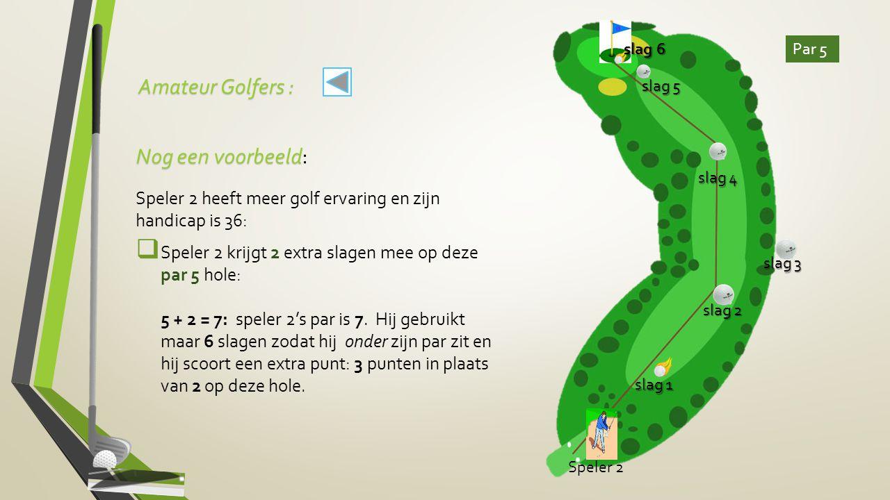 Amateur Golfers : slag 6. Par 5. slag 5. Nog een voorbeeld: Speler 2 heeft meer golf ervaring en zijn handicap is 36: