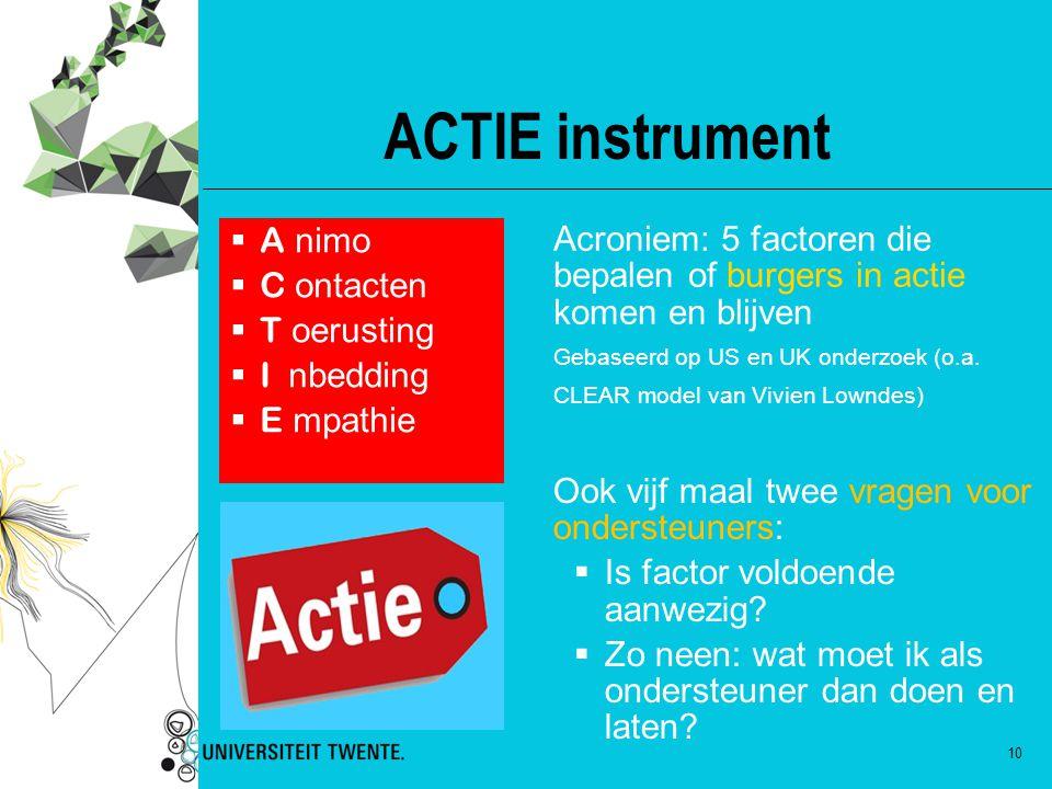 ACTIE instrument A nimo