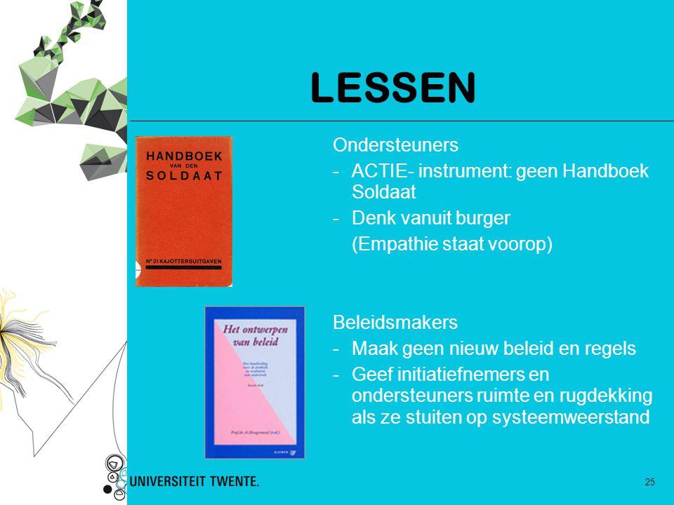 LESSEN Ondersteuners ACTIE- instrument: geen Handboek Soldaat