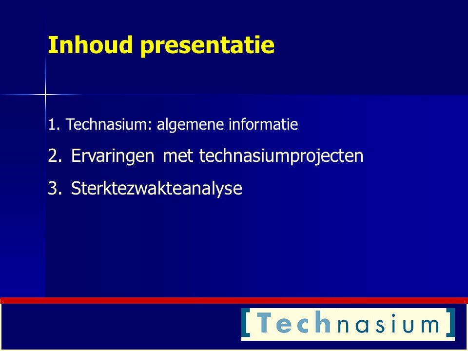Inhoud presentatie Ervaringen met technasiumprojecten