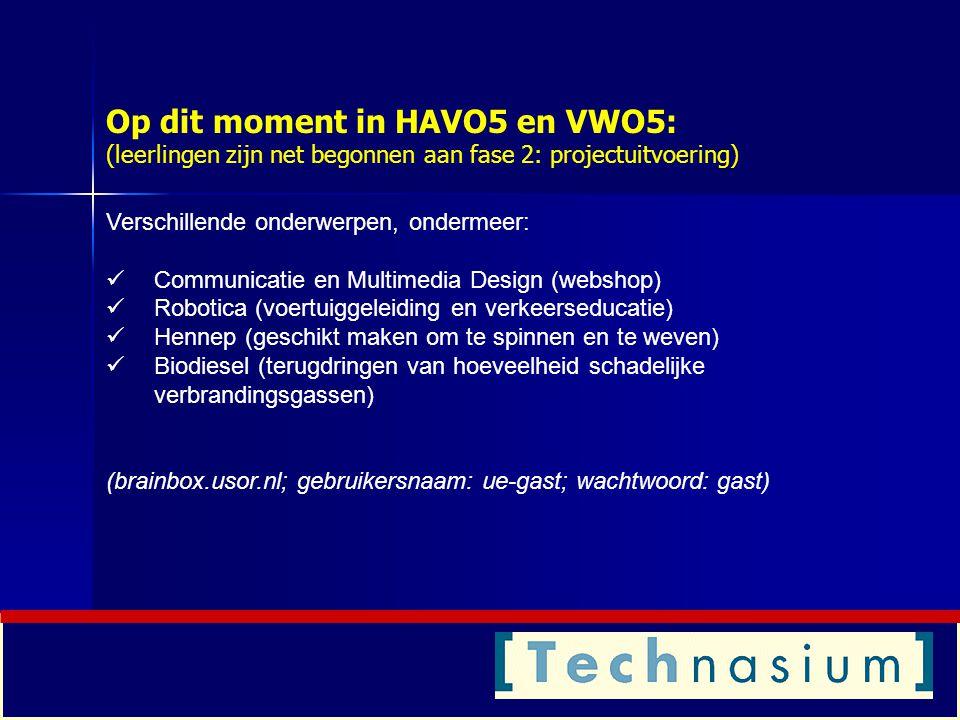 Op dit moment in HAVO5 en VWO5: