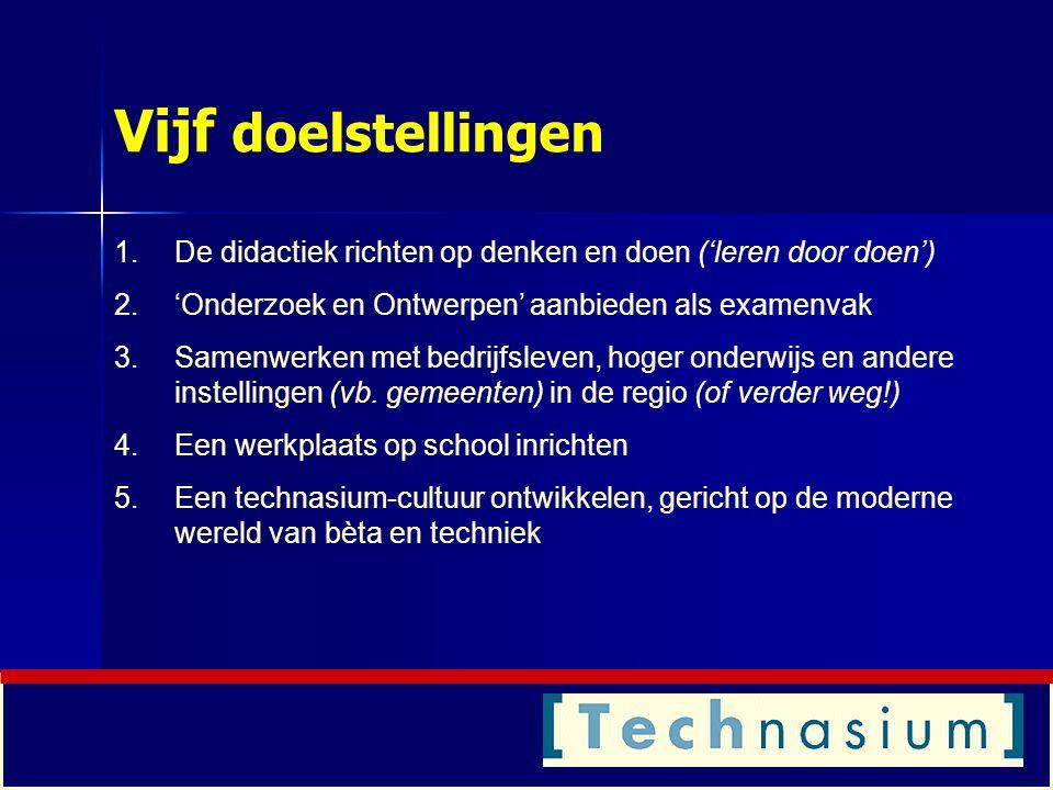 Vijf doelstellingen De didactiek richten op denken en doen ('leren door doen') 'Onderzoek en Ontwerpen' aanbieden als examenvak.