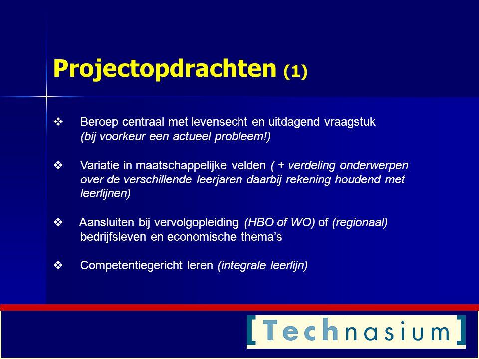 Projectopdrachten (1) Beroep centraal met levensecht en uitdagend vraagstuk (bij voorkeur een actueel probleem!)
