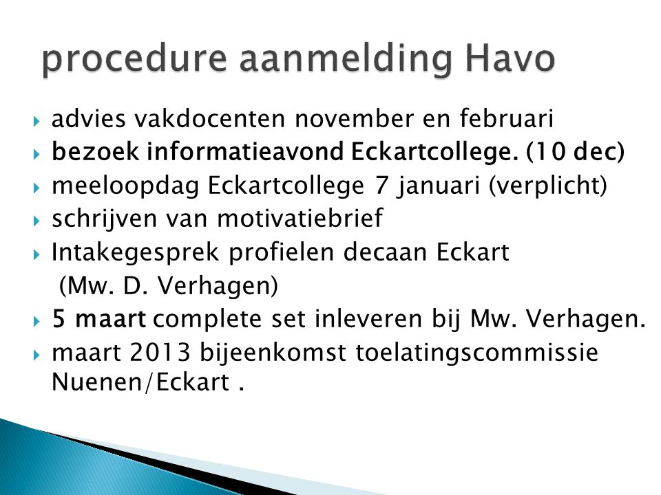 procedure aanmelding Havo