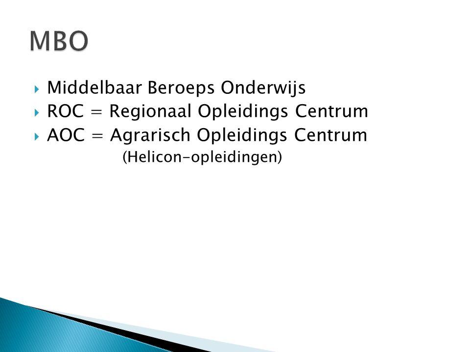 MBO Middelbaar Beroeps Onderwijs ROC = Regionaal Opleidings Centrum