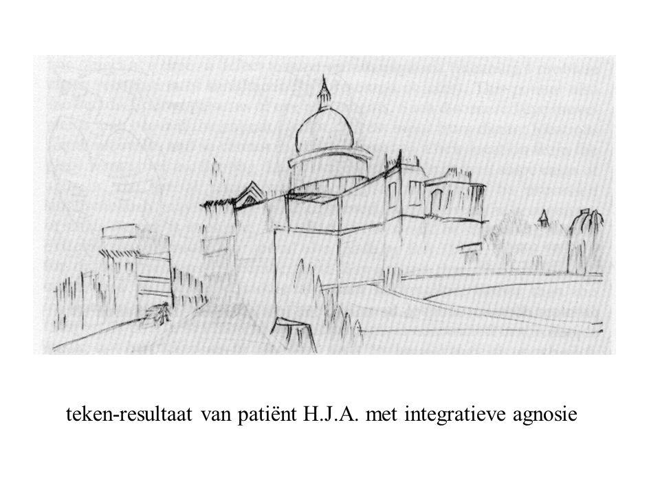 teken-resultaat van patiënt H.J.A. met integratieve agnosie
