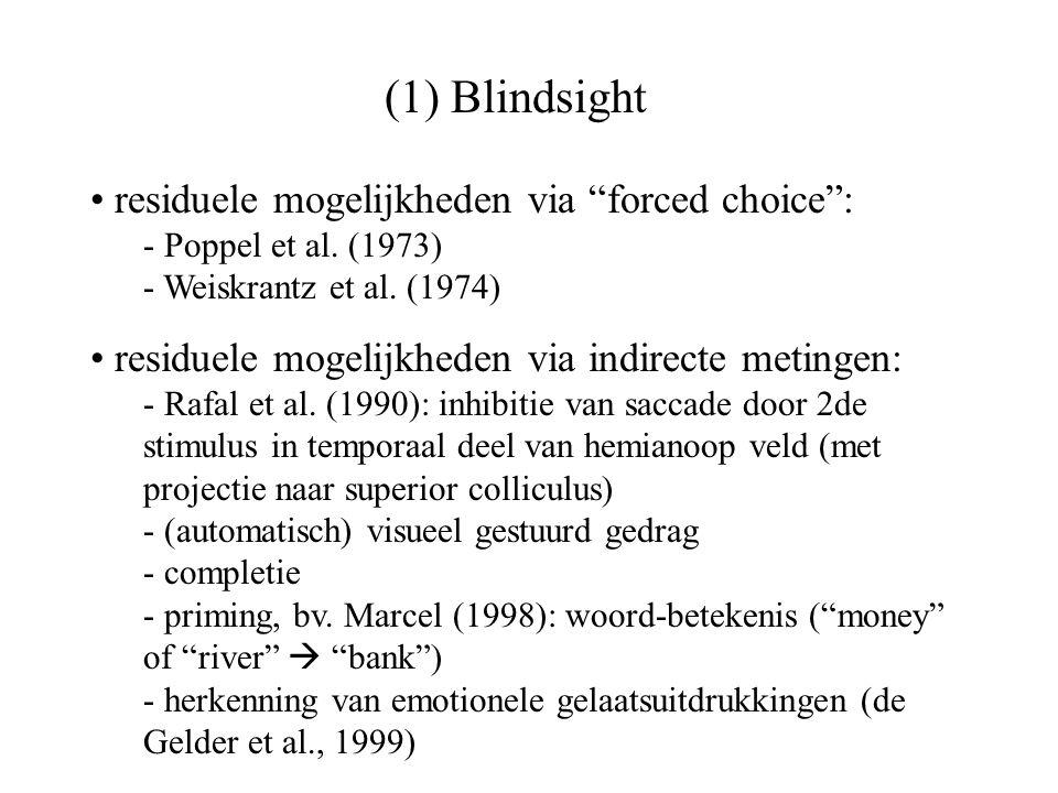 (1) Blindsight residuele mogelijkheden via forced choice :