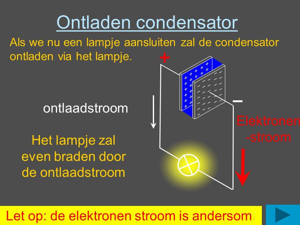 Ontladen condensator ontlaadstroom Elektronen -stroom