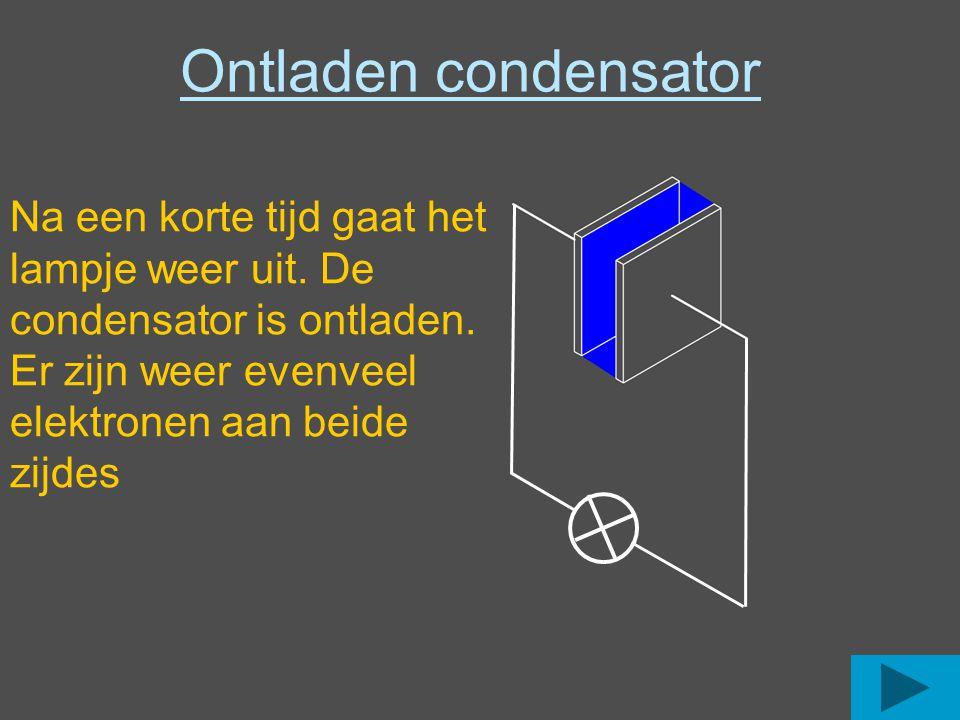Ontladen condensator Na een korte tijd gaat het lampje weer uit.