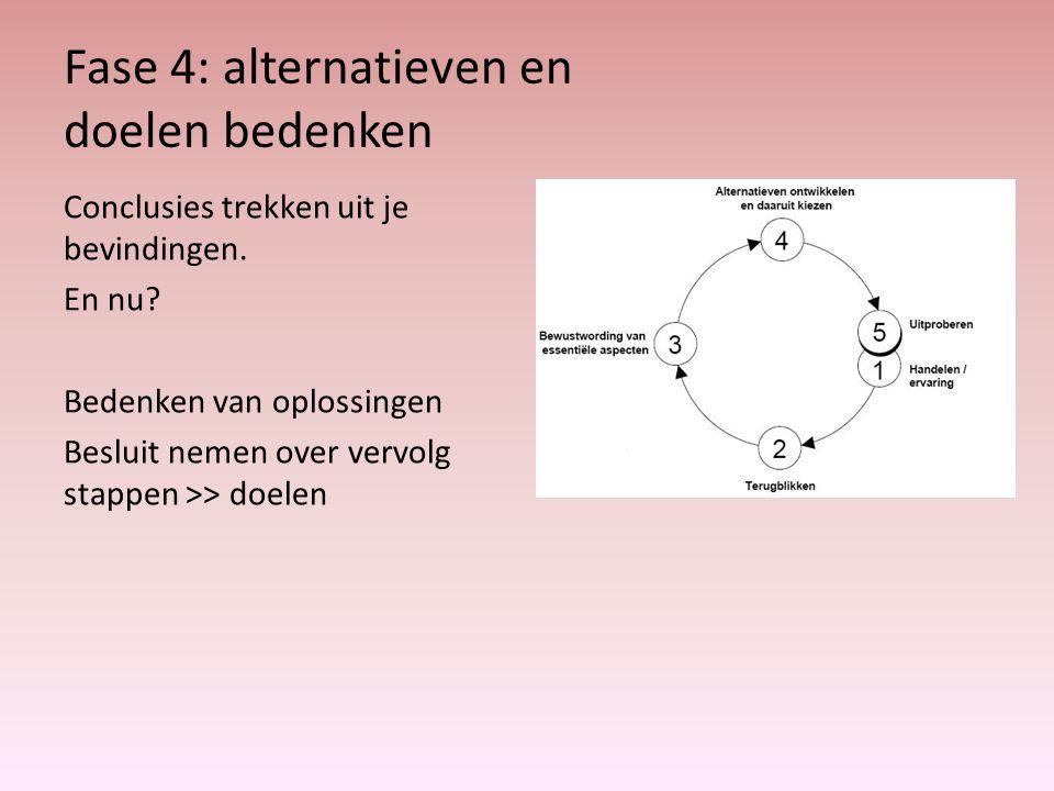 Fase 4: alternatieven en doelen bedenken