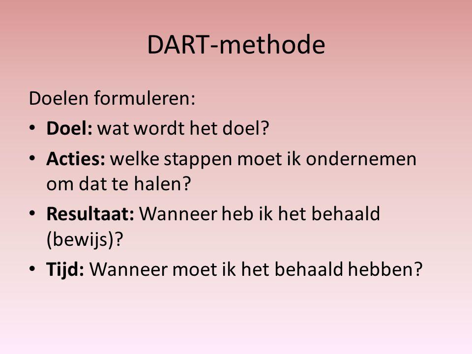 DART-methode Doelen formuleren: Doel: wat wordt het doel