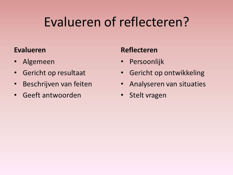 Evalueren of reflecteren