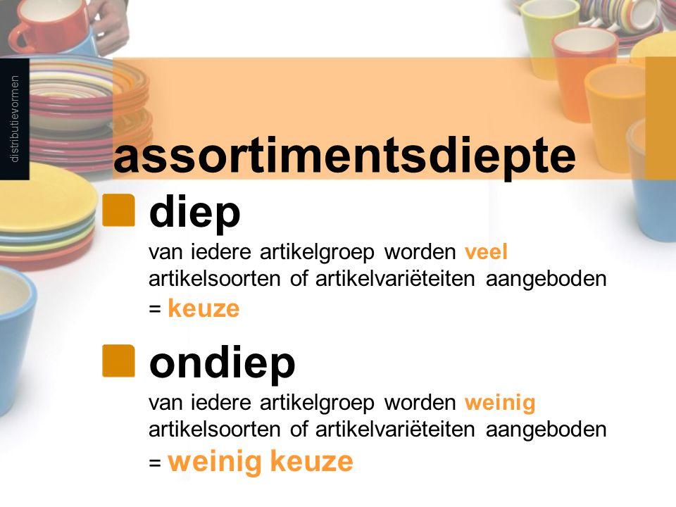 distributievormen assortimentsdiepte. diep van iedere artikelgroep worden veel artikelsoorten of artikelvariëteiten aangeboden = keuze.