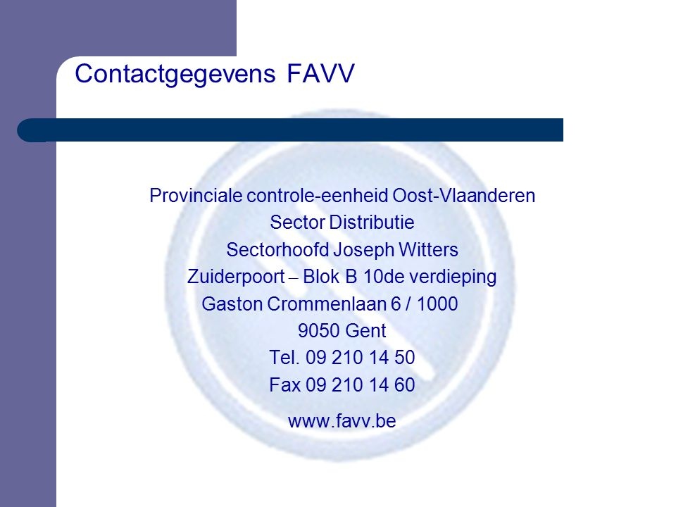 Contactgegevens FAVV www.favv.be
