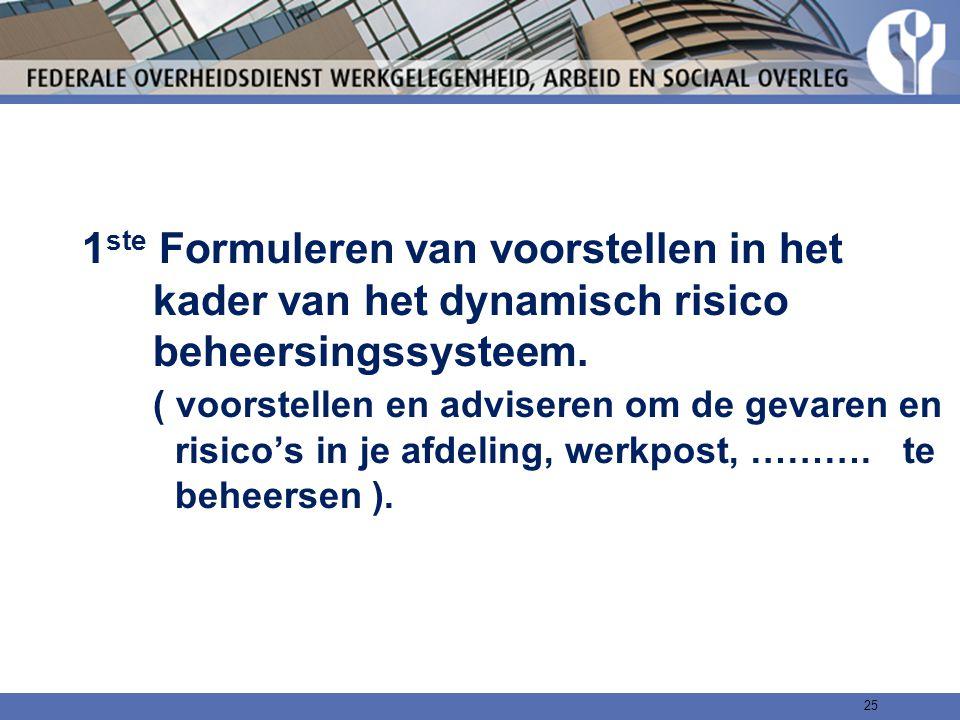 1ste Formuleren van voorstellen in het kader van het dynamisch risico beheersingssysteem.